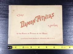 Rare Pabst Blue Ribbon Beer Souvenir Booklet 1890 Damon And Pythias Pre-Pro PBR #cjbeez #beer #breweriana #mancave #bar #pub #pabst #pbr #pbrmeasap