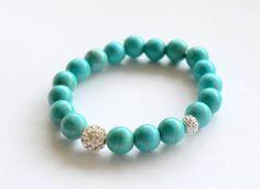 Turquoise Howlite Gemstone Pave Bead Bracelet by KiKiJabriJewels