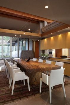 like the tree slab table with the really modern white chairs. Sweet Home, Dinning Room Tables, Elegant Dining, Unique Furniture, Modern Decor, Modern Rustic, Decoration, Interior Design, House