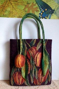сумка из шерсти, тюльпаны, сумка валяная, сумка с цветами, мокрое валяние