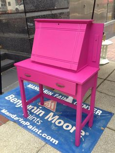 http://vintagefuniturepaintinc.com  #paint #furniture #pink #desk