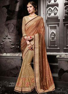 Buy Observable Beige Fancy Fabric Designer Half N Half saree, Online #sarees #royal #designersarees #ethnic #glamour #sareelove #sareesonline #womensarees #indianwear