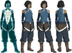 Korra concepts and designs by Lauren Montgomery, Christie Tseng, Angela Song Mueller, and Bryan Konietzko. Color by Sylvia Filcak-Blackwolf and Bryan Konietzko. Avatar Cartoon, Korra Avatar, Team Avatar, Character Model Sheet, Character Modeling, Avatar Airbender, Sasameki Koto, Lauren Montgomery, Character Turnaround