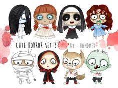 Buy Now Cute Horror set 3 ,Halloween Clipart,. Kawaii Halloween, Halloween Mono, Moldes Halloween, Halloween Clipart, Baby Halloween, Halloween Crafts, Kawaii Disney, Cute Disney, Scary Drawings