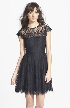 BB Dakota 'Rhianna' Illusion Yoke Lace Fit & Flare Dress at Nordstrom.com. Beautiful, delicate lace is shaped into a lovely fit-and-flare dress detailed with a sheer yoke, dainty cap sleeves and a striking back cutout.