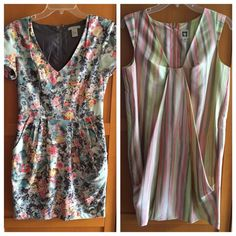 Two for One Dress Sale‼️ Short sleeve dress is from H&M size 6. Dress purchased fully lined. However, I removed the bottom lining. And repaired a small hole. Stretch floral fabric. The second dress is 100% silk Anne Klein with pockets. Wore each dress one time. As is. Final sale! Free gift with purchase! Dresses