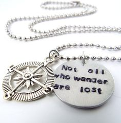 Not All Who Wander Are Lost Hand Stamped Necklace by Kre8vStudioz