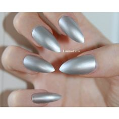 Silver stiletto nails! ($9) ❤ liked on Polyvore featuring beauty products, nail care, nails and nail polish