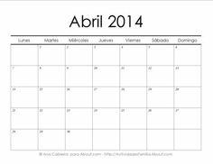 Calendarios 2014 simples para imprimir> Abril #Calendario #Imprimir #Imprimible #Printable