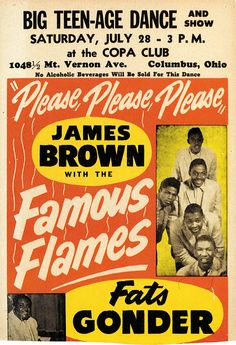 Classic Soul Concert Poster: Big Teen-Age Dance & Show — James Brown with The Famous Flames & Fats Gonder