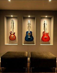Guitars on the wall hang original idea