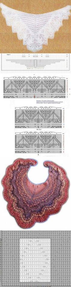 El chal de Engelna: el esquema y la descripción. Baby Knitting Patterns, Shawl Patterns, Knitting Charts, Lace Knitting, Crochet Patterns, Crochet Jacket, Crochet Poncho, Knitted Shawls, Crochet Scarves