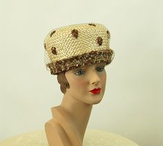 1960s straw hat raffia hat ivory brown hat with by vintagerunway