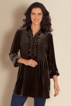 Verona Velvet Tunic - Womens Long Sleeve Tunic Top, Drape Tunic Top, Silk Ruffle Tunic Top | Soft Surroundings