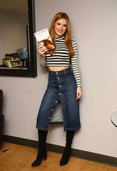 Bella Thorne in AC for AG denim skirt