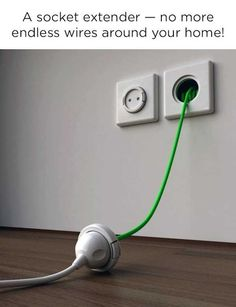 Socket extender, out extension cords IN the wall during building process