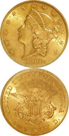 1861 Gold 20 Dollar