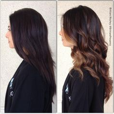 great transformation.chocolate brown with caramel highlights