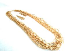 Gorgeous**Gold**Color Womans Multi Size Chain Necklace w/ Matching Earrings