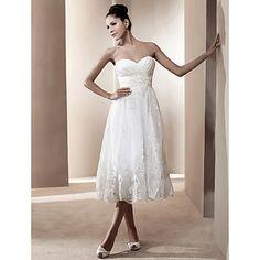 A-line Sweetheart Tea-length Satin Wedding Dress  – USD $ 179.99 on Light in the box.