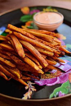 Sweet Potato Fries with Sriracha Mayo. Such a pretty, flavorful snack!