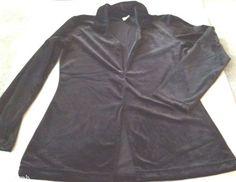 Ladies Shirt Women's Med Black Velvety Soft Long Sleeve Dressy Stretch USA Made #Regatta #KnitTop #Any