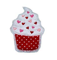 Applikation Muffin in rot/rosa/weiß    Gestickt aus der von N-Art erstellten und von mir digitalisierenten Stickdatei Muffin. Die Stickdatei findes...