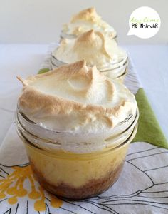 Keylime pie in jar.  These are so cute and perfect for summer!