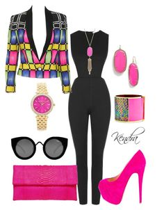 """""""Neon In The Fall"""" by k1974johnson1117 ❤ liked on Polyvore featuring Topshop, Versace, Christian Louboutin, Primary, Kendra Scott, Sarah Magid, Michael Kors and Quay"""
