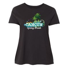 a6f199b23d88cc Vacation Women s Plus Size T-Shirt - Black for a spring break trip to  Cancun Mexico with beach and palm tree design oz.