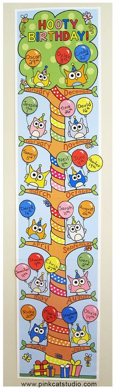 This adorable owl theme birthday board will look fantastic in your classroom! Each branch of the tree represents a month of the year and balloons are used to display your students' birthdays. By Pink Cat Studio by donna Owl Theme Classroom, Classroom Charts, Classroom Birthday, Birthday Board, Classroom Displays, Classroom Activities, Preschool Birthday, Classroom Ideas, Classroom Clock