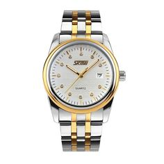 Sale 29% (15.99$) - SKMEI 9099 Stainless Steel Band Waterproof Gold Color Case Analog Men Quartz Watch