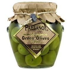 Sicilian Green Olives in Brine, grown and hand-packed in Italy