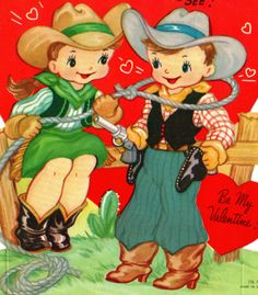 COWGIRL LASSOES HER COWBOY SWEETHEART & STEALS HIS HEART /VINTAGE VALENTINE CARD