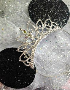 Disney Minnie Mouse Ears with tiara Sparkle Disney Ears by tutufactory on Etsy