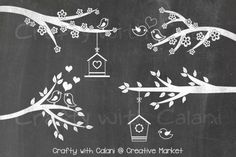 Love Bird & Flower Chalkboard by Crafty with Calani on @creativemarket