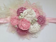 Tutu Pink rosette headband over the top por ChloeRoseCouture
