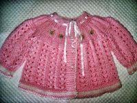 Receita de Tricô: Casaquinho bebe rosa