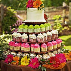 Summer cupcake tower