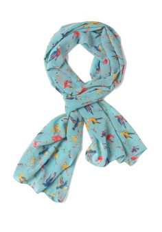 Oh Me, Oh Fly Scarf - Blue, Yellow, Pink, Print with Animals, Casual