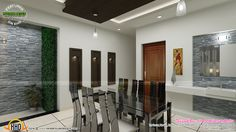 Contemporary Dining Living And Courtyard Interior Design By Line Interiors Infra Thrissur Kerala