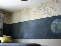 """Walls That """"Wow"""": A hand-painted map mural with an extrawide band of chalkboard paint makes for a wall that's as visually appealing as it is fun. Source: HGTV"""