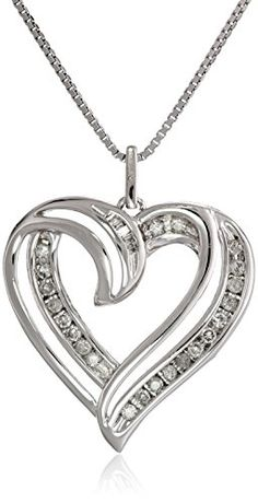 Jewels By Lux 10K White Gold Womens Round Diamond Small Heart Pendant 1//20 Cttw