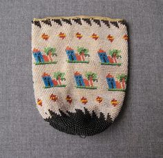 Antique Decorated with Houses Trees Micro Beaded Purse | eBay