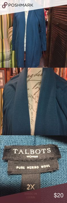 Talbots's Size 2X teal open front cardigan Pure Merino wool cardigan Talbots Sweaters Cardigans