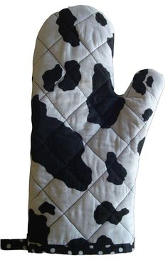 "Amazon.com: Custom & Durable {12"" x 5"" Inch} 1 Single, Mid Size ""Non-Slip"" Pot Holders Glove Made of Cotton for Carrying Hot Dishes w/ Handmade Quilted Spotted Cow Design Style [Black & White]: Home & Kitchen"
