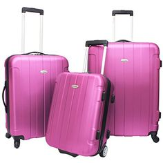 3 Piece Hardside Pink lightweight Wheeled Duffle Bag Rolling Upright Luggage Set Locking MultiCompartment Spinner Telescoping Handle ABS Polycarbonate Full Interior Lining Zipper Pockets ** See this great product.