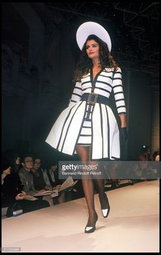 Helena Christensen - Chanel Haute Couture fashion show spring summer 1992 collection in Paris.