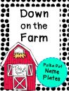 Down on the Farm Polka Dot Name Plates product from Pink-at-heart on TeachersNotebook.com