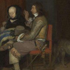 Galante conversatie, bekend als 'De vaderlijke vermaning', Gerard ter Borch (II), ca. 1654 - Dagelijks leven (schilderijen) - Kunstwerken - Ontdek de collectie - Rijksmuseum